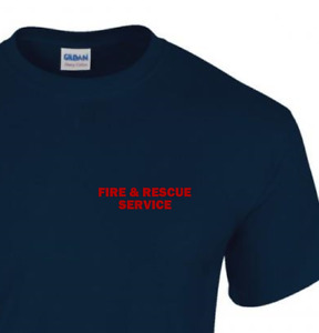 FIRE AND RESCUE SERVICE T SHIRT - UK FIREMAN EMERGENCY SERVICES - NAVY BLUE