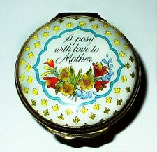 HALCYON DAYS ENAMEL BOX - MOTHER'S DAY 1989 - FLOWER BASKET - CROCUS - DAFFODILS