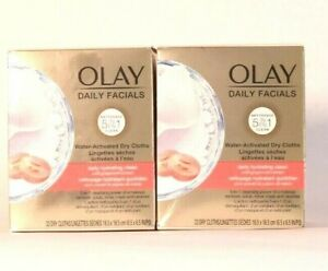 2 Olay Daily Facial 5in1 Daily Hydrating Clean 33 Ct Water Activate Dry Cloths