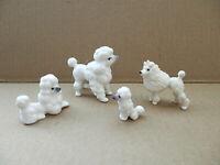 4 Vintage Miniature Porcelain Ceramic White Poodle Figurines