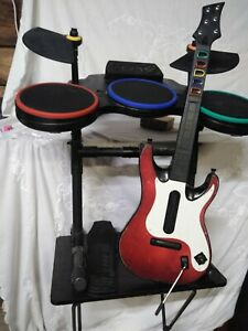 Playstation 2 Guitar Hero Lot With Drums And Guitar