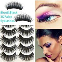 5 Pairs Blue+Black Long Thick Cross False Eyelashes Handmade eye lashes