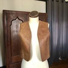 Vintage 70's Brown Leather Vest S/M