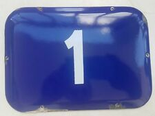 BIG vintage ISRAELI enamel porcelain number 1 house sign # 1
