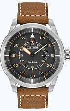 New Citizen Eco-Drive Avion Vintage Style Brown Strap Mens Watch AW1361-10H