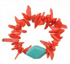 Magnesite Shard Beaded Stretch Bracelet Barse Brand Genuine Orange Coral Turq