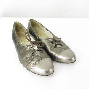 VTG JOHANSEN Lace Up Pewter Bronze Leather Cap Toe Oxford Pumps Shoes Sz 8 D