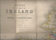 BETT'S ROAD & RAILROAD MAP OF IRELAND - 1850s ORIGINAL MAP