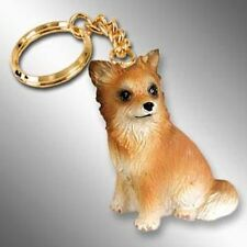 Chihuahua Longhair Tan White Dog Tiny One Resin Keychain Key Chain Ring