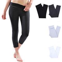Solid Fold Over Waistband Capri Cotton Leggings Skinny Yoga Pants (High Quality)