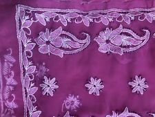NEW INDIA saree SARI GEORGETTE PINK CHIKAN W/ BORDER HAND EMBROIDERY USA SELL
