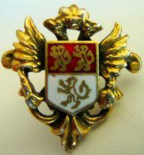 Vintage Screwback Earrings Double Headed Eagle Red White Enamel 3 Lion Crest