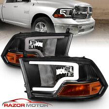 For 2009-2018 Dodge Ram 1500 2500 3500 Black Led Bar Plank style Headlights pair (Fits: Dodge)