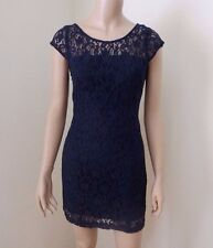 NEW Hollister Womens Lace Dress Size 3 Small Fitted Mini Dress Low Back Navy