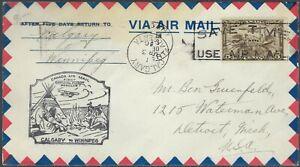 1930 CANADA FIRST FLIGHT COVER - CALGARY TO WINNIPEG - CACHETED!
