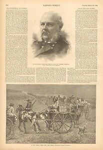 Trappers, Fur Train From The Far North, by Remington Vintage 1888 Antique Print