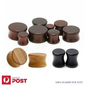 1-3 Pairs Wood Ear Plug Piercing Stretcher Flared Bio Brown Black Bamboo 6-30mm
