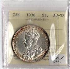 Canada 1936 $1 One Dollar ICCS Certified AU-58 XAG 066 Silver