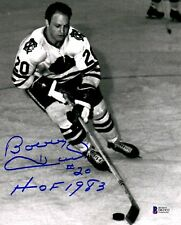 "BECKETT-BAS BOBBY HULL #20 ""HOF 1983"" AUTOGRAPHED-SIGNED BLACKHAWKS 8x10 PHOTO 3"