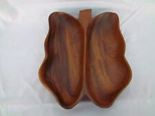 Bowl Divided Wood Phillipines Leaf or Butterfly Shape Monkey Pod Wooden Bowl