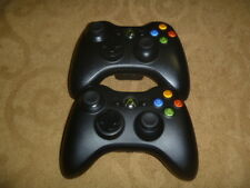 Official Microsoft Xbox 360 Wireless Controller Slim All Black Set Lot Of 2