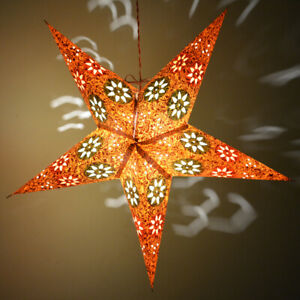 Flower Printed Paper Star Hanging Lamp Shades Pair Of 5 For Home Decoration