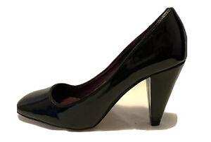 Next Ladies Shoes Size 39 Black Patent Stiletto Heels Pump Square Toe Wide Fit