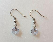 Round Light Purple Jewel Drop Dangling Earring (Handmade)