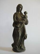 EDEL RAR Ältere massive Heiligenfigur Madonna aus Zinn 17 cm hoch 1,3 kg schwer