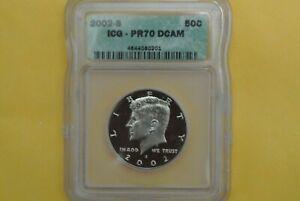 2002-S Kennedy SILVER Half Dollar Silver Proof ICG PR70 DCAM