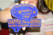 Chappell Flying Service Airplane Detroit Airport Gas Oil Porcelain Metal Sign