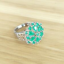 Newest Oval Fire Green Quartz Cubic Zirconia Gems Two-tone Flower Silver Rings