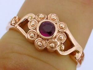 R088 Genuine 9ct Solid Rose Gold NATURAL Ruby Blossom Flower Ring size  M