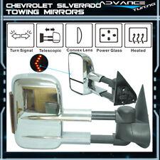 03-07 Chevy Silverado Towing Mirrors Power Heated Signal Arrow Light Chrome Pair