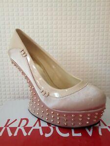 Womens new satin platform sandal shoe high wedge jewel studs heels u.k size 7