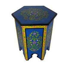 Blue Moroccan Hand-painted End Table Corner Table Accent Table XL