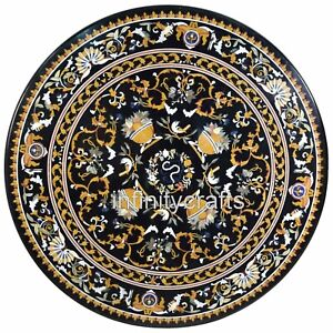 96 Inches Black Dining Table Top Round Marble Hotel Table with Antique Work