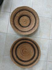 "2 - Vintage African Handwoven Makenge Root Wedding Basket Large 20"", very old"