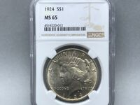 1924-P NGC MS 65 Peace Silver Dollar! Premium Coin With Nice Strike and Luster!