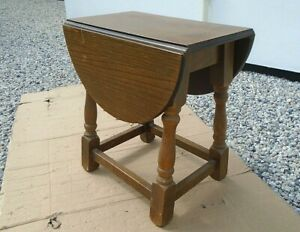 Small Vintage Oak Drop Leaf Side End Coffee Table Plant Display Stand