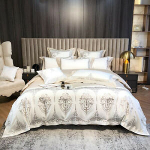 2021 Luxury 1200TC Egyptian cotton bedding set with embroidery super soft 4/7Pcs