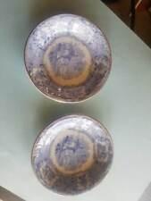 "(2) Ridgways c.1830-34 England Oriental 3 1/4"" Butter Pats Blue White Transfer"