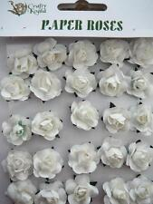 Adhesive White Paper Roses Flowers Card Making NEW