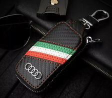 Carbon Fibre Leather Car Remote Key Chain Holder Case Bag Fit For Audi-FAST POST