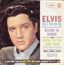 "Single 7"" Elvis Presley ""Return to Sender/Where do you come frome"""
