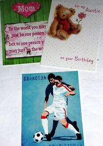 just 29p! 18 RELATIONS BIRTHDAY CARDS, HIGHEST QUALITY, 3 DESIGNS X 6. 29p!