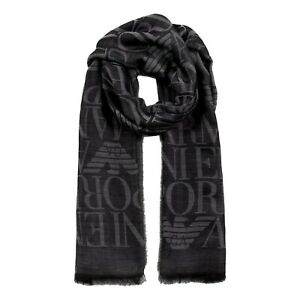 NWT EMPORIO ARMANI WOOL BLEND STOLE WITH ALL-OVER JACQUARD LETTERING 6252030P303