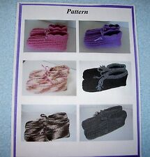 Crochet Slippers Houseshoes PATTERN--Ladies, Mens, Youth & Childs Sizes