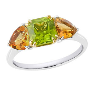 VALUATION $2760 NATURAL QUALITY PERIDOT + CITRINE 18K CT SOLID GOLD RING UNIQUE.