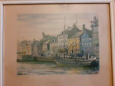 More details for nyhavn copenhagen water colour and ink painting,
